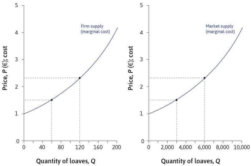 Firm and market supply curves look similar : At a price of €1.52 they each supply 66 loaves, and market supply is 3,300. The market supply curve looks like the firm's supply curve, but the scale on the horizontal axis is different.