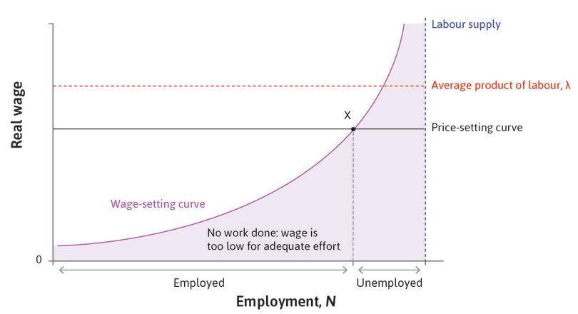 Equilibrium in the labour market.