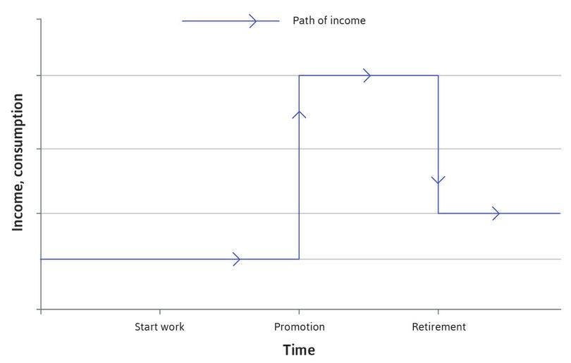 Income over time : The blue line shows the path of income over time: it starts low, rises when the individual is promoted and falls at retirement.