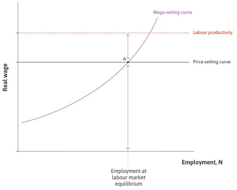 Labour market equilibrium at A : At A, the economy is at labour market equilibrium. The real wage on the wage-setting curve is equal to that on the price-setting curve, so firms' claims to real profit per worker plus the workers' claims to real wages sum to labour productivity.