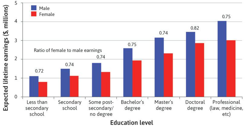 Categorical inequality: Schooling and lifetime earnings for men and women in the US.
