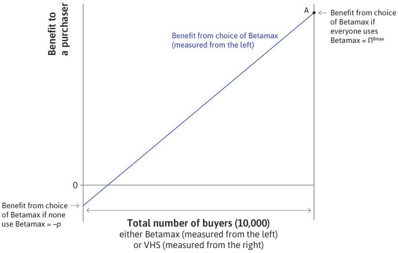 If nobody buys Betamax : The net benefit to a purchaser would be negative and equal to the price paid for it.