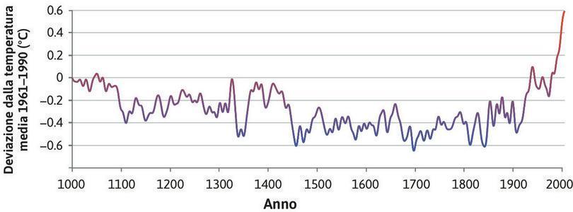 Evoluzione di lungo periodo della temperatura dell'emisfero boreale (1000–2006).