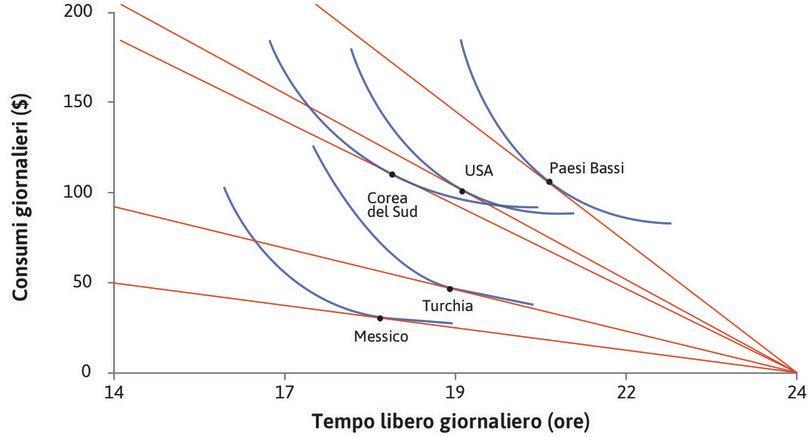 Le curve di indifferenza : Tracciamo delle curve d'indifferenza che diano conto delle scelte nei diversi paesi. Tali curve non sono ottenute dai dati, ma hanno forme plausibili e compatibili con i dati osservati.
