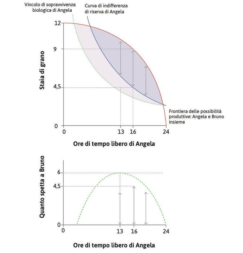 Il surplus massimo : Se Angela lavorasse un numero di ore maggiore o minore di 8, il surplus totale sarebbe minore di 4,5 staia.