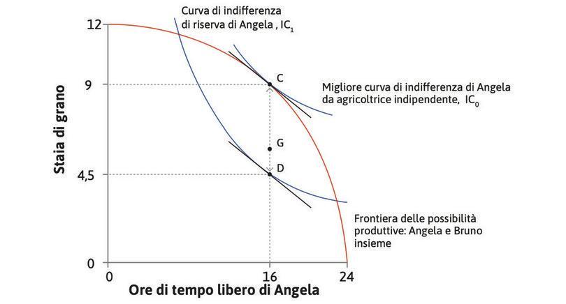 Le preferenze di Angela : Abbiamo assunto (ipotesi di preferenze quasi-lineari) che il SMS di Angela non cambiasse all'aumentare del suo consumo di grano. Dunque, in ogni punto lungo CD, come G, c'è una curva di indifferenza con la stessa pendenza, e in tutti questi punti SMS = SMT.