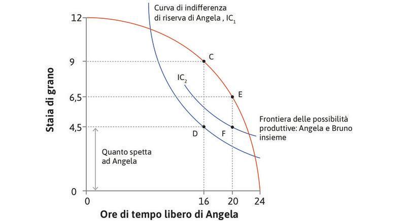L'effetto della legge : Con la legge che riduce la giornata lavorativa a 4 ore e fissa la retribuzione minima a 4,5, Angela si trova su una curva di indifferenza più alta, in corrispondenza di F. La quota di Bruno si riduce da CD a EF (2 staia).