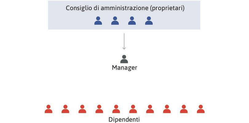 I proprietari decidono la strategia di lungo periodo : I proprietari, attraverso il Consiglio d'Amministrazione, decidono la strategia di lungo periodo dell'impresa che riguarda come, cosa, e dove produrre. Possono poi ordinare ai manager di attuare queste decisioni.