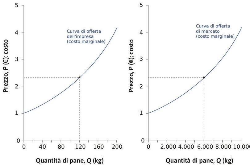 La curva di offerta di mercato : Quando , ciascuno dei 50 panifici produce 120 kg e l'offerta di mercato è pari a 50 × 120 kg = 6000 kg.