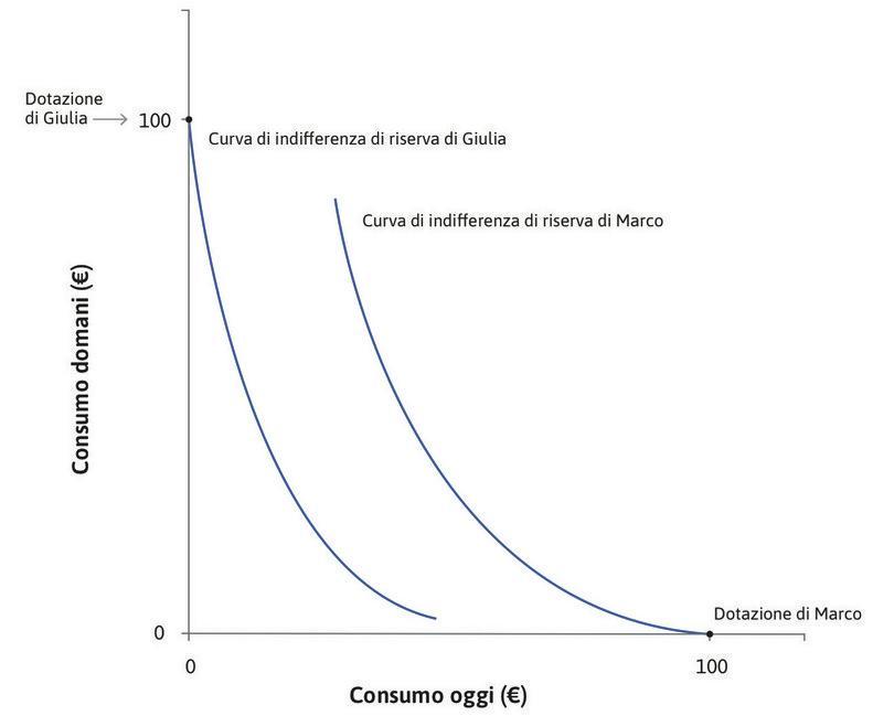 Curve di indifferenza di riserva e dotazioni iniziali.