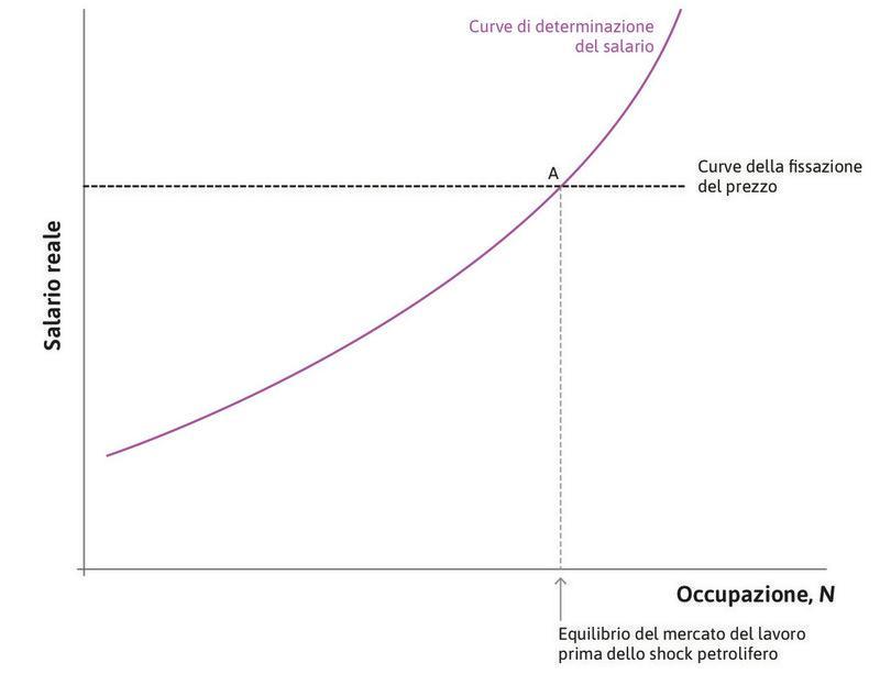 Equilibrio nel mercato del lavoro : Lo stato iniziale è rappresentato dal punto A.